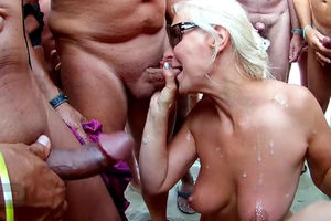 Light-haired Cougar covered by jizz on..