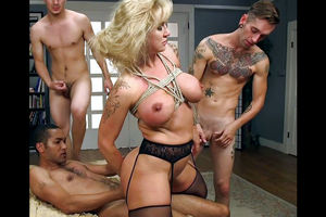 Trussed up busty mature gets dual..