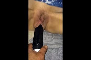 Old wife's pussy fucked by dark-hued..