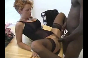 Curly wife in corset gets romped by..