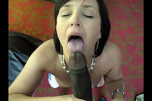 Sexy Cougar doing blowjob for ebony..