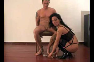 Horny brunette MILF fucks trussed up..
