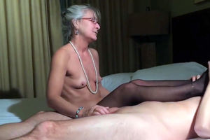 Puny tits  granny jerking shaft